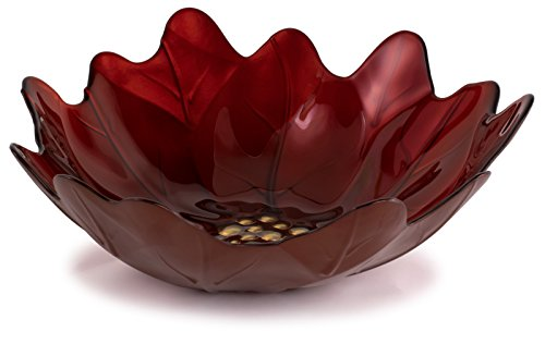 Large Red & Gold Poinsettia Glass Serving Bowl - 13.5