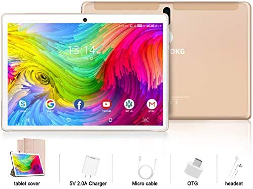 10 inch Tablet with Keyboard and Mouse, 4 GB RAM + 64 GB ROM/256GB Expansion Quad-Core Android 9.0 Tablets WiFi Dual SIM 4G and TF Card slot 8000 mAh Type-C Bluetooth OTG android Tablet 10 inch (Gold)