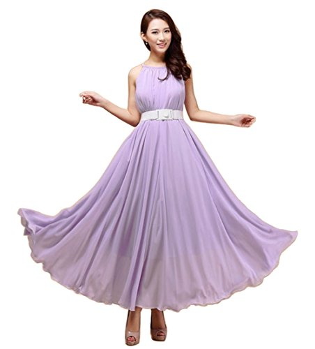 Boho Cocktail Violett Party aweids Lang Vintage Kleid Chiffon ärmellos Sommer Abend qxHtU