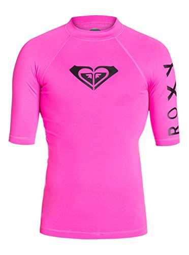 Roxy Girls 7-14 Whole Hearted Short Sleeve Rashguard Pink 10