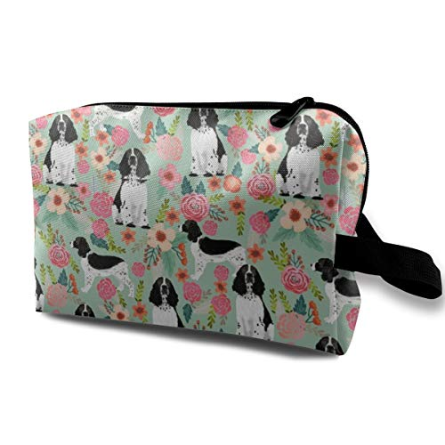 Funny 3D Printing women cosmetic bag English Spring Spaniel Florals Design - Mint - Smaller_713 Travel Makeup Bags 4.9 x 6.3 x 10 inch