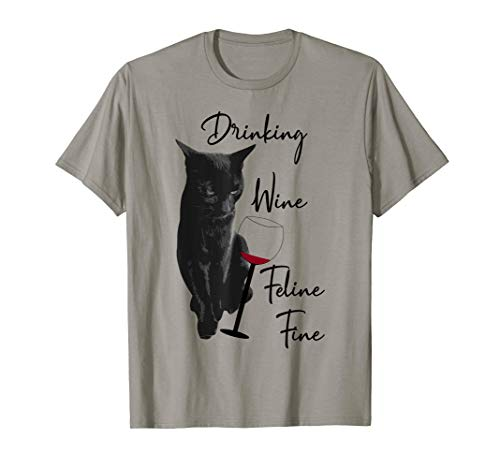 Drinking Wine Feline Fine T-Shirt Cat And Wine Lover Ladies