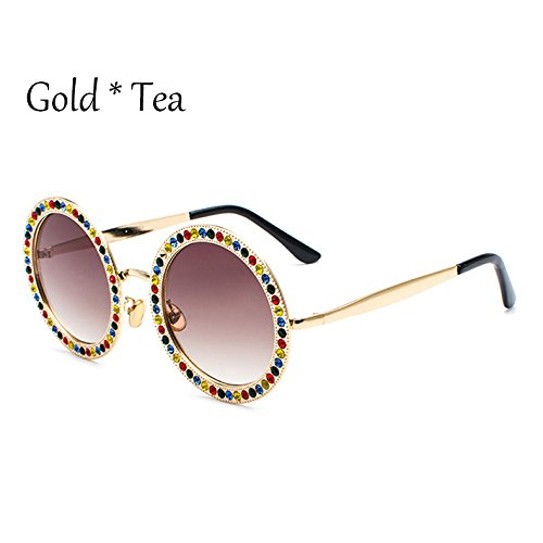 TL-Sunglasses Colorato diamanti a taglio brillante Frame Occhiali da sole donne lenti multicolore Occhiali da sole Ladies sfumature UV G381,Rosa