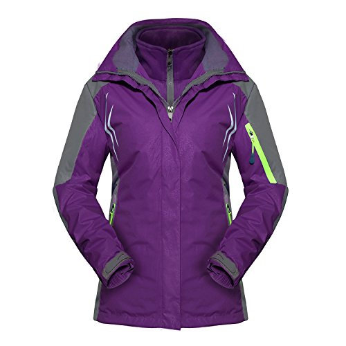 Magcomsen Women's Hiking Waterproof Jacket Fleece Windproof Ski Jacket, Purple, Tag XL, US Small
