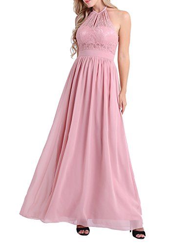 CHICTRY Womens High Neck Halter Lace A-line Chiffon Floor-Length Bridesmaid Dress: Amazon.co.uk: Clothing