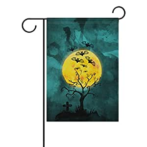 "ALIREA Watercolor Halloween Moonlight Polyester Garden Flag Outdoor Flag Home Party Garden Decor, Double Sided, 12"" x 18"""