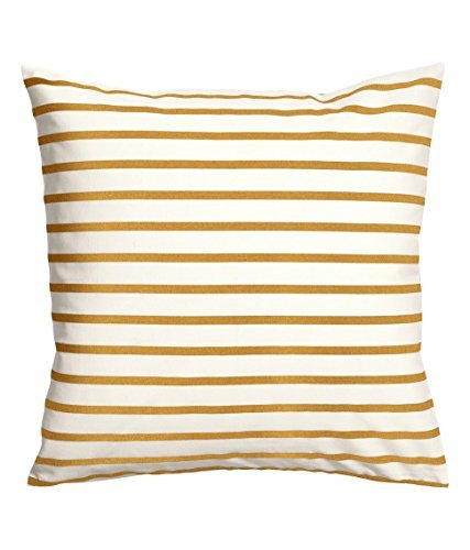 1WillLoanestore Striped Mustard Yellow White 18 X 18 Creativ