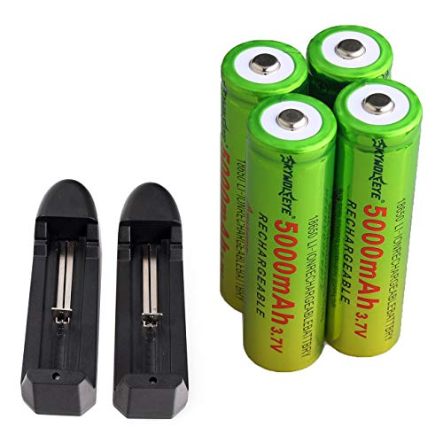 Skywolfeye 18650 lithium Rechargeable Batteries 5000mAh 3.7V And Li-ion 18650 18500 16340 14500 26650 Universal Smart Battery Charger (2PC Charger+ 4PC 18650 battery 5000 mAh)
