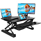 Seville Classics OFF65807 Airlift Gas-Spring Standing Desk Converter Height Adjustable to 19.1 Dual-Monitor Riser with Keyboard Tray and Phone Holder, 35.4, Black