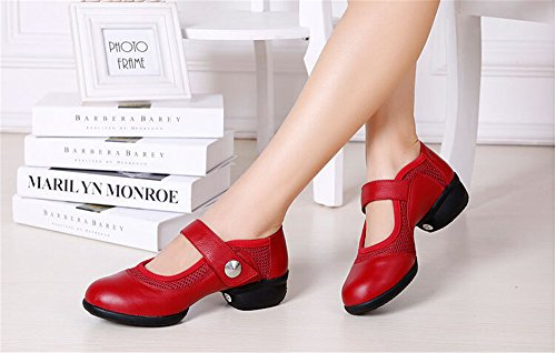 Womens Dance Jazz ¡ Inset Mesh Modern Leather Shoes Practice staychicfashion Red Boots HadqwCw