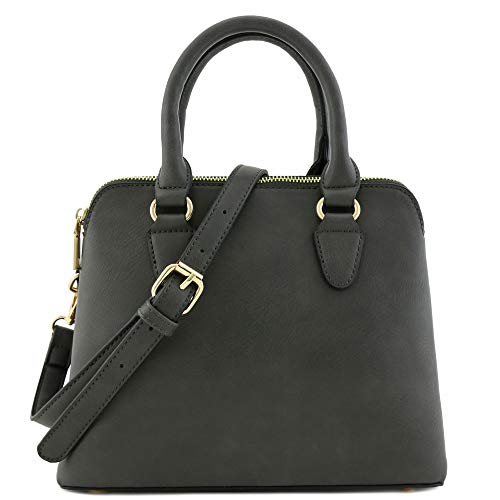 Classic Double Zip Top Handle Dome Satchel Bag (Dark Grey)