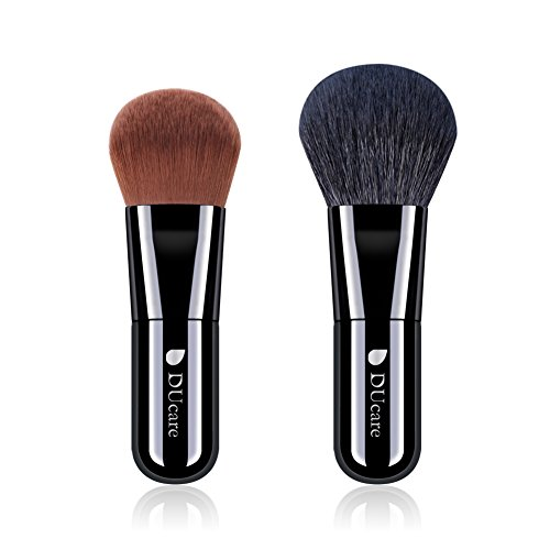 DUcare Makeup Brush Set Face Kabuki 2 Pieces - Foundation and Powder Makeup Brushes for Mineral BB Cream (Thing One And Thing Two Face Makeup)