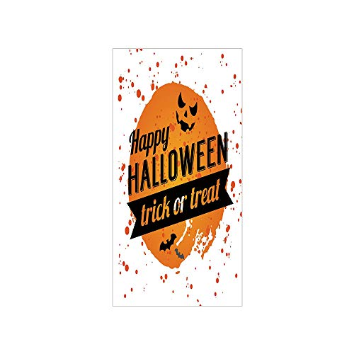 Decorative Privacy Window Film/Happy Halloween Trick or Treat Watercolor Stains Drops Pumpkin Face Bats/No-Glue Self Static Cling for Home Bedroom Bathroom Kitchen Office Decor Orange Black White