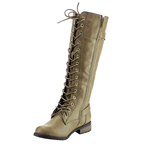 Voor Altijd Ic10 Dames Lace Up Gesp Dikke Hiel Bestrijding Knie Hoge Laarzen Taupe