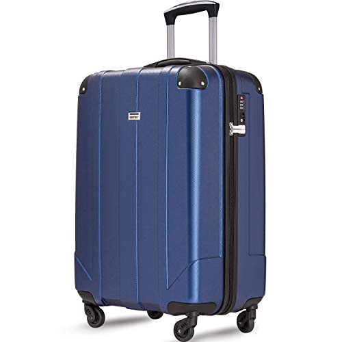 Merax Hardside Spinner Luggage with Built-in TSA and Reinforced Corners, Eco-friendly P.E.T Light Weight Carry-On 20″ 24″ 28″ Suitcases (20 inch, Blue)