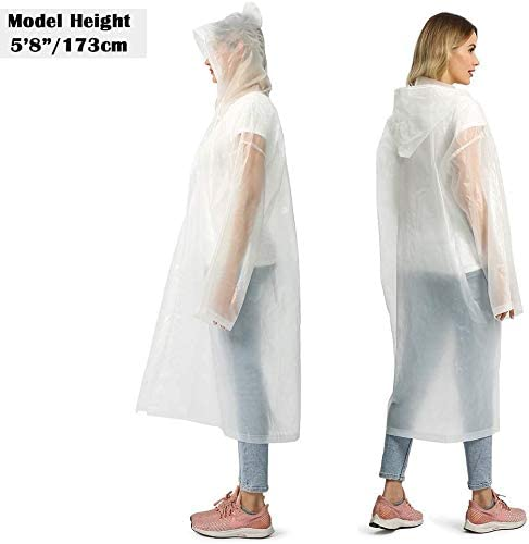 HR-International 5 Packs Disposable Rain Poncho with Hoods Extra Thick PEVA One Time Raincoat Protective Gowns for Adult Women Men Blue