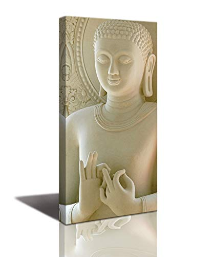 Contemporary Marble Color Religion Buddha Statue with Chinese Style Art Canvas Paintings The Pictures Prints On Canvas - Modern Big Religion Painting Artwork for Home Decor ()