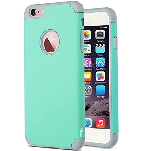 iPhone 6S Case , iPhone 6 Case , Alkax Rugged Heavy Duty Thin Slim Fit Armor Dual Layer Hybrid Shockproof High Impact  Protection Cover Bumper for Apple iPhone 6 +1 Stylus Pen(Aqua Blue)