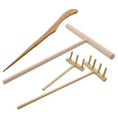 lychee Mini Bamboo Zen Garden Tool Rake Sand Rock Push Drawing Pen Set Desktop Decor Accessories : Industrial & Scientific