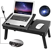 Moclever Laptop Table for Bed-Multi-Functional Laptop Bed Table Tray with Internal Cooling Fan & 2 Independent Laptop...
