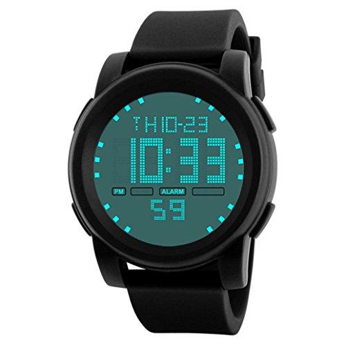 Gotd Sport Digital Wrist Date Watch for Men Boy LED Waterproof Casual Quartz Band Silicone Rubber Strap Analog Wholesale Luxury Fashion Gift Bracelet (Black)