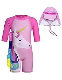 pjsonesie Unicorn Swimwear Girls One Pieces Rash Guard Set Flamingo Sun Suits with Sun Hat UPF 50+ (FBA)