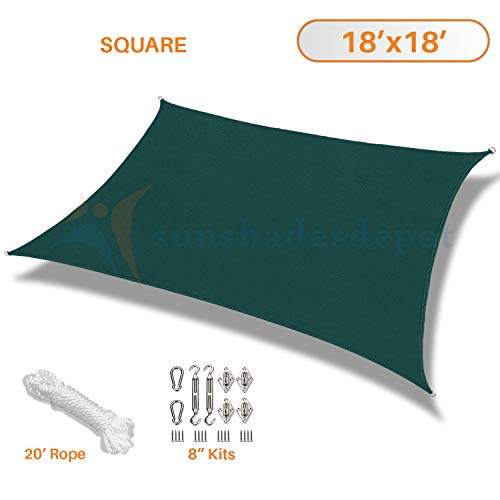 Sunshades Depot 18 x 18 Sun Shade Sail 180 GSM with 8 inch Hardware Kit Square Permeable Canopy Dark Green Custom Commercial Standard