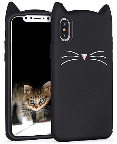 iPhone Xs Max Case Cute, Miniko(TM) Fashion Cute Kawaii Funny 3D Black Meow Party Cat Kitty Whiskers Dropproof Protective Soft Rubber Case Skin for Apple iPhone Xs Max 2018