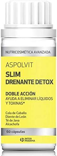 Aspolvit - Slim Drenante quemagrasas eliminan retención de líquidos. Compuesto por cola de caballo y diente de león - 60 unidades