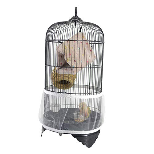 QBLEEV Bird Cage Seed Catcher Mesh Birdcage Seeds Guard Skirt Net Cover for Round Bird Cages White Color ()