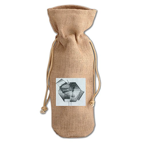 Still Life Checked Tablecloth (J Gris) Jute Burlap Burlap Wine Drawstring Bag -