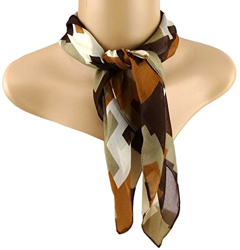 tissu nicki Chiffon en brun foncé brun beige gris à motifs - taille 50 x 50 cm