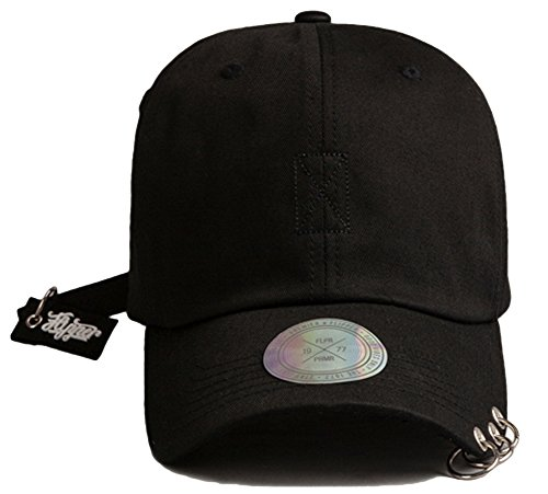 Flipper 3 Metal Rings Pierced Visor Rubber Hang Tail Womens Mens Ball Cap Baseball Cap Trucker Hat (Black/Black Tag)