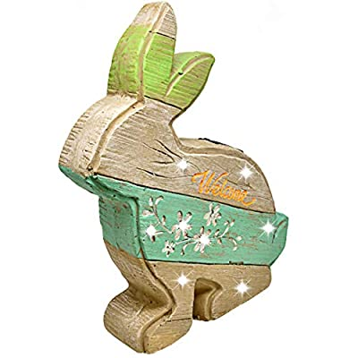 """Gift Boutique Solar 15"""" Welcome Bunny Garden Decor Outdoor Powered Lights Yard Decorations Rabbit Statues Figurines Decor for Lawn Animal Decorative Ornaments Sculptures for Indoors and Outdoors"""