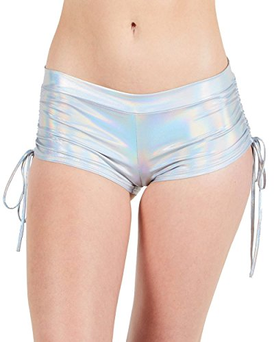 iHeartRaves Hologram Silver Scrunch Side Tie Low Rise Sport Shorts (2X-Large)
