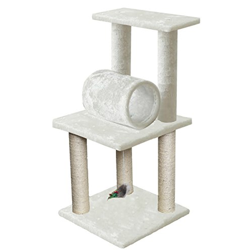 Paws & Pals 16x16x33 Inches Cat Tree House w Scartching Post Towers - Pet Toy Ball and Rope and Mouse - Multi Level - 3 Level Condo - Brown