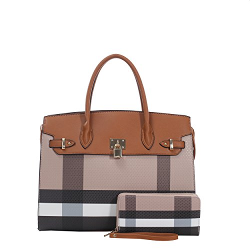 - Kendra Plaid Satchel Bag with Matching Clutch Wallet - 2 Piece Set (Brown/Brown)