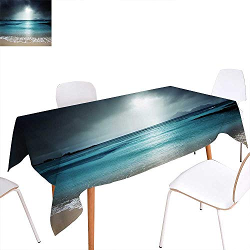"""familytaste Tropical Washable Tablecloth Storm Sky on The Beach of La Dugue Island Seychelles Dramatic Scene Waterproof Tablecloths 52""""x70"""" Dark and Petrol Blue Tan from familytaste"""