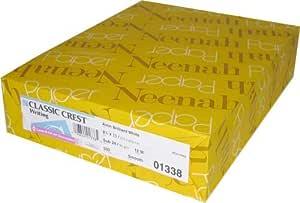 Neenah Classic Crest, 80lb/216 GSM, Solar White, 97 Bright, 8 1/2 x 11, 250ct (04701)