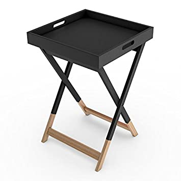Attractive Dar Living Wood Tray Side Table, Black