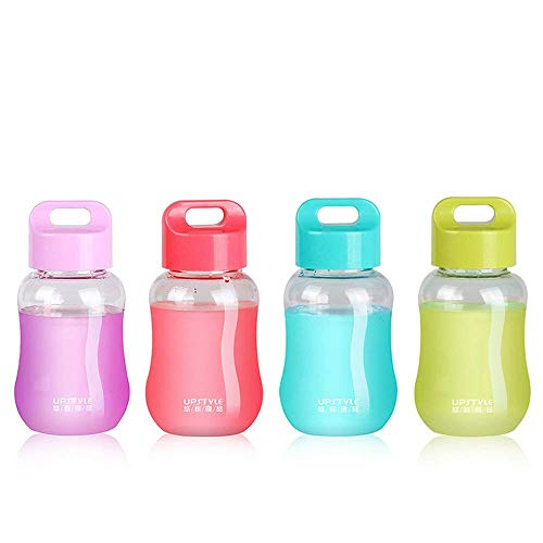(UPSTYLE Mini Plastic Coffee Travel Mugs Water Bottle Sports Water Bottle Cup for Milk, Coffee, Tea, Juice Size 180ml (6oz) Transparent Bottle Pack of 4)