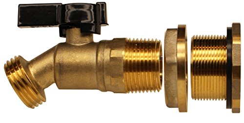 RAINPAL Brass Rain Barrel Quarter Turn Ball Valve Spigot with Bulkhead -