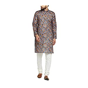 Sojanya Men's Blended Regular Kurta (SJR-Print-004-40_Multicolored_Large)