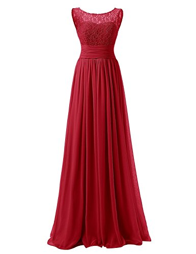 Long Party JAEDEN Bridesmaid Chiffon Prom for Lace Red Pleat Dress Dress Dark a77gqd