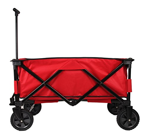 Patio Watcher Heavy Duty Collapsible Folding Garden Cart Utility Wagon for Shopping Outdoors, Red