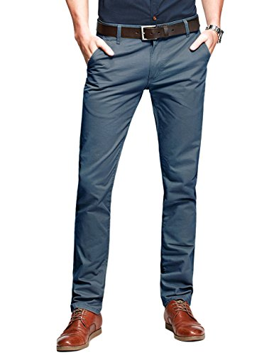 Match Mens Slim-Tapered Flat-Front Casual Pants(Indigo blue,30)