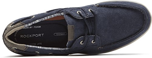 Rockport Hombres Gryffen Two Eye Zapatos Navy Canvas