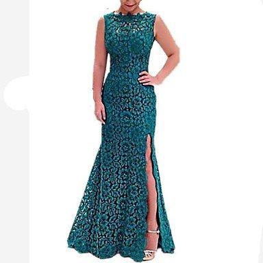 Lace Redondo Encaje Vestir Trompeta s Maxi Mujer Vestido Cuello sirena Sólido Green Verde XxTqOxwz