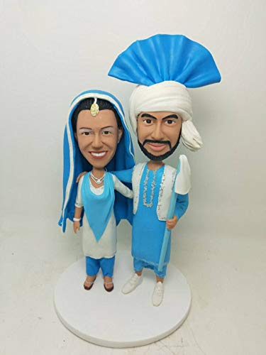 (Indian Sikh Wedding Topper Sikh Personalized Wedding Cake Topper Indian Bobble Head Indian Bride Indian Sikh Groom Sikh Wedding Cake Topper)
