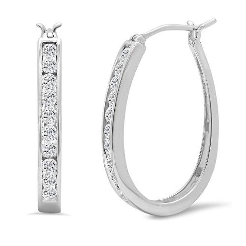 AGS Certified 1ct TW Diamond Hoop Earrings in 10K White Gold
